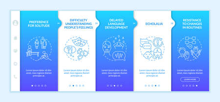Asperger syndrome signs onboarding vector template. Responsive mobile website with icons. Web page walkthrough 5 step screens. Resistance to changes in routine color concept with linear illustrations Vektorové ilustrace