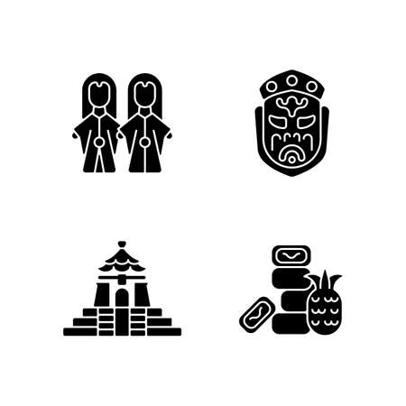 Asian ceremonial black glyph icons set on white space. Taiwanese theater attributes. Oriental entertainment props. Cultural values. Sweet food. Silhouette symbols. Vector isolated illustration