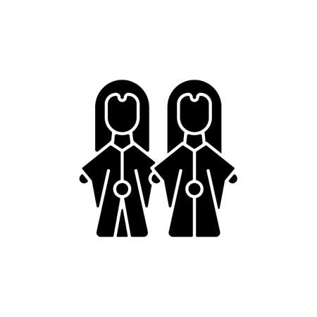 Glove puppets black glyph icon. Budaix national entertainment. Finger dancing artisan. Facial expression traditional stories retelling. Silhouette symbol on white space. Vector isolated illustration