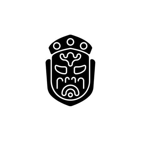Ghost mask museum black glyph icon. Taipei attractions. Depict disfigured creepy creature item. Gruesome death indulgences warning. Silhouette symbol on white space. Vector isolated illustration