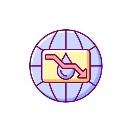 Water scarcity RGB color icon. Isolated vector illustration. Experiencing drought conditions globally. Fresh water lacking. Environmental issue. Resource management simple filled line drawing