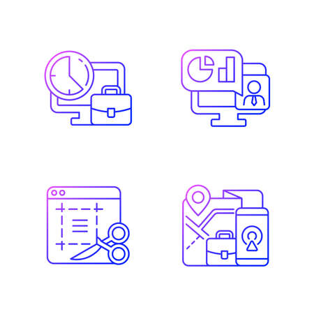 Remote work monitoring gradient linear vector icons set. Online presentation with marketing strategy. Thin line contour symbols bundle. Isolated vector outline illustrations collection