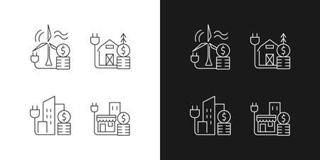 Electricity cost linear icons set for dark and light mode. Wind energy expense. Electricity consumption price. Customizable thin line symbols. Isolated vector outline illustrations. Editable stroke