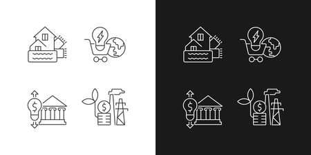 Renewable electrical energy linear icons set for dark and light mode. Weatherization of house. Global market. Customizable thin line symbols. Isolated vector outline illustrations. Editable stroke