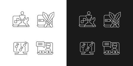 Competitive games types linear icons set for dark and light mode. Combat between teams. Customizable thin line symbols. Isolated vector outline illustrations. Editable stroke