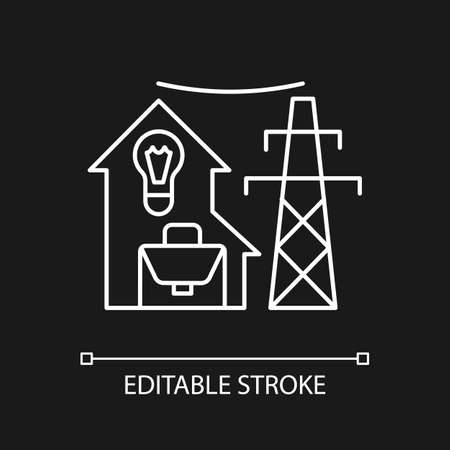 Electric utility white linear icon for dark theme. Electricity power production. Energy purchase. Thin line customizable illustration. Isolated vector contour symbol for night mode. Editable stroke