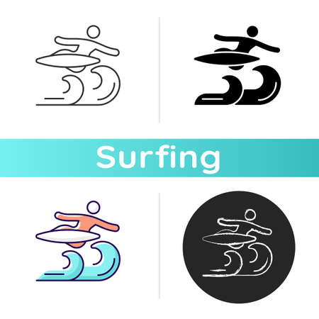 Air surfing technique icon. Flight maneuver. Flying above wave. Aerial tricks and moves on ocean waves. Backward aerial rotation. Linear black and RGB color styles. Isolated vector illustrations Ilustrace