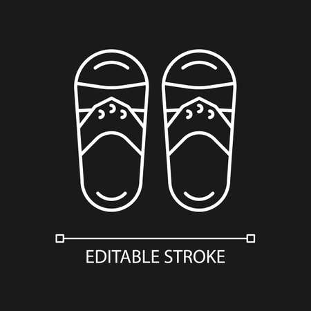 Taiwanese slippers white linear icon for dark theme. Traditional shoes. Weather feet protection. Thin line customizable illustration. Isolated vector contour symbol for night mode. Editable stroke Ilustrace