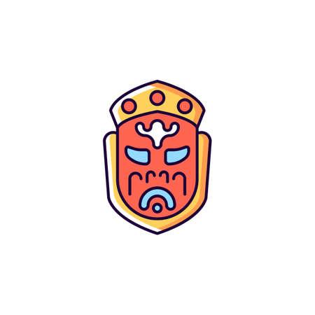 Ghost mask museum red RGB color icon. Isolated vector illustration. Taipei attractions. Depict disfigured creepy creature. Gruesome death indulgences warning simple filled line drawing