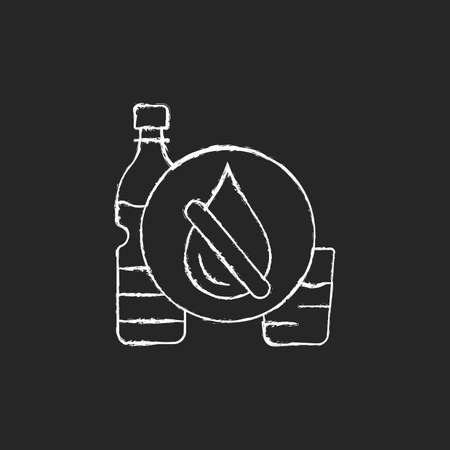 Drinking water shortage chalk white icon on dark background. Contaminated resource. Unimproved sanitation. Living in water-stressed areas. Isolated vector chalkboard illustration on black