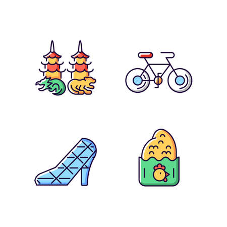 Asian RGB color icons set. Isolated vector illustrations. Taiwanese recreational. High heel wedding church. Dragon tiger pagodas. Chicken cutlet. Cycling simple filled line drawings collection Ilustração Vetorial
