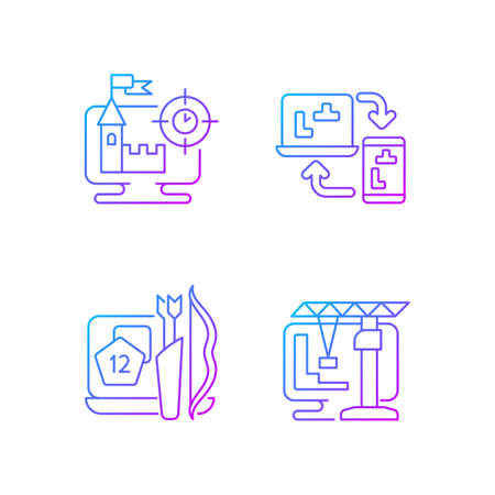 Online playing gradient linear vector icons set. Users have a special role in scenario. Thin line contour symbols bundle. Isolated vector outline illustrations collection Векторная Иллюстрация