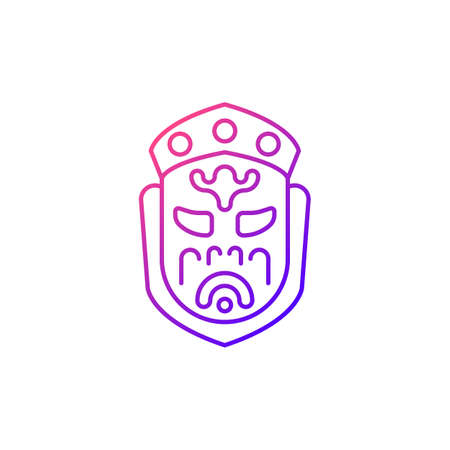 Ghost mask museum gradient linear vector icon. Taipei attractions. Depict disfigured creepy creature item. Thin line customizable illustration. Isolated vector contour symbol for light mode.