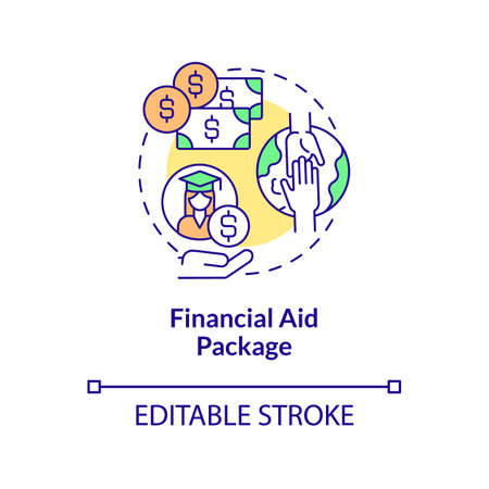 Financial aid package concept icon. Internship programs financing option abstract idea thin line illustration. Aid eligibility for intern year. Vector isolated outline color drawing. Editable stroke Vektorové ilustrace