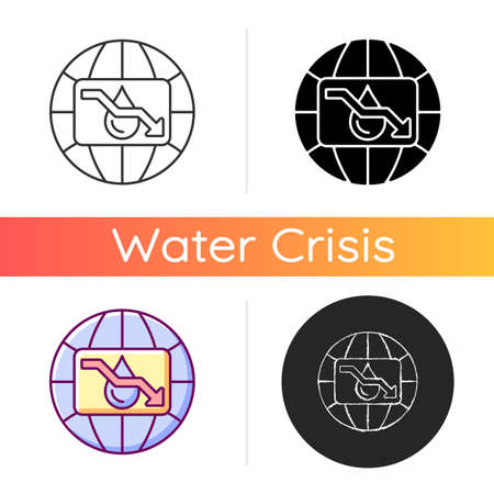 Water scarcity icon. Experiencing drought conditions globally. Fresh water lacking. Environmental, economic issue. Resource management. Linear black and RGB color styles. Isolated vector illustrations