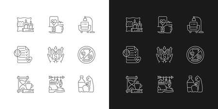 Modern lifestyle and health linear icons set for dark and light mode. Cozy interior. Minimalism. Mental wellness. Customizable thin line symbols. Isolated vector outline illustrations. Editable stroke