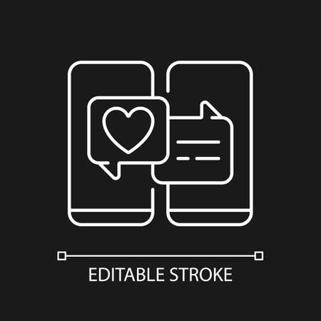 Online dating white linear icon for dark theme. Popular trend during pandemic. Romantic relations. Thin line customizable illustration. Isolated vector contour symbol for night mode. Editable stroke