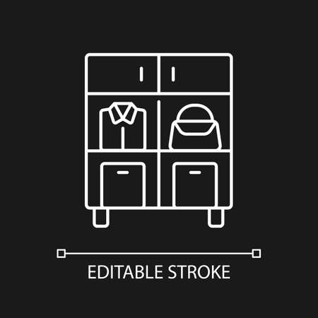 Home organization white linear icon for dark theme. Smart storage solution. Restoring order in home. Thin line customizable illustration. Isolated vector contour symbol for night mode. Editable stroke
