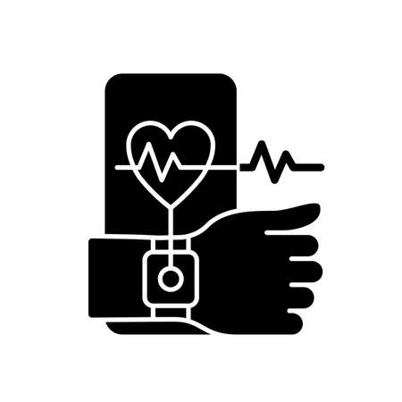 Health tracking black glyph icon. Measuring heart rate. Wearable fitness tracker. User physical activity. Blood pressure monitor. Silhouette symbol on white space. Vector isolated illustration Ilustrace