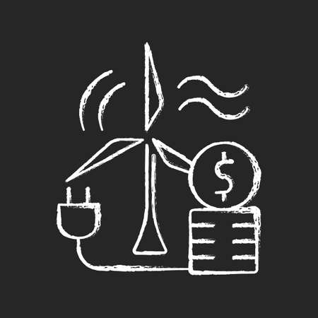 Wind energy price chalk white icon on dark background. Windmill for generating renewable power. Sustainable resource cost. Price for energy purchase. Isolated vector chalkboard illustration on black