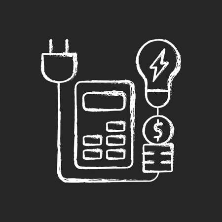 Energy price rebates chalk white icon on dark background. Discount for electric power consumption. Save money on electricity service. Energy purchase. Isolated vector chalkboard illustration on black Ilustrace
