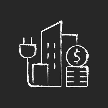 Urban energy price chalk white icon on dark background. Electricity consumption in city district. Power utility service for buildings. Energy purchase. Isolated vector chalkboard illustration on black