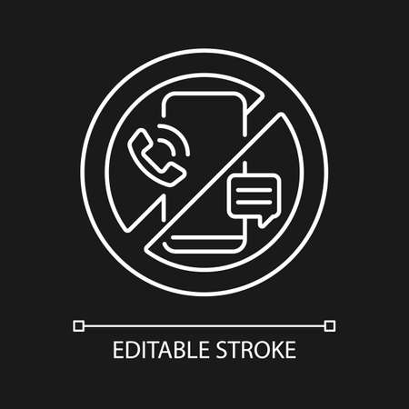 Digital detox white linear icon for dark theme. Refraining from using tech devices. Thin line customizable illustration. Isolated vector contour symbol for night mode. Editable stroke