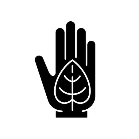 Green lifestyle black glyph icon. Embracing sustainability. Reduce negative impact on planet health. Environmental responsibility. Silhouette symbol on white space. Vector isolated illustration Ilustrace