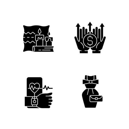 Lifestyle tendencies black glyph icons set on white space. Hygge life. Wealth building. Health tracking. Vintage fashion. Cozy atmosphere. Silhouette symbols. Vector isolated illustration