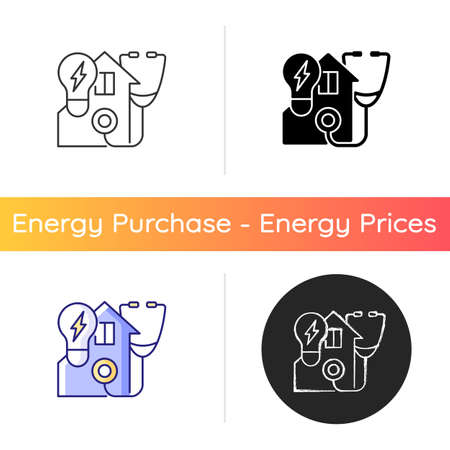 Energy audit icon. Inspecting residential house for efficient power usage. Sustainable resource consumption. Energy purchase. Linear black and RGB color styles. Isolated vector illustrations