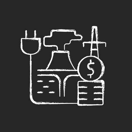 Geothermal energy price chalk white icon on dark background. Sustainable thermal power production. Utility service cost. Price for energy purchase. Isolated vector chalkboard illustration on black