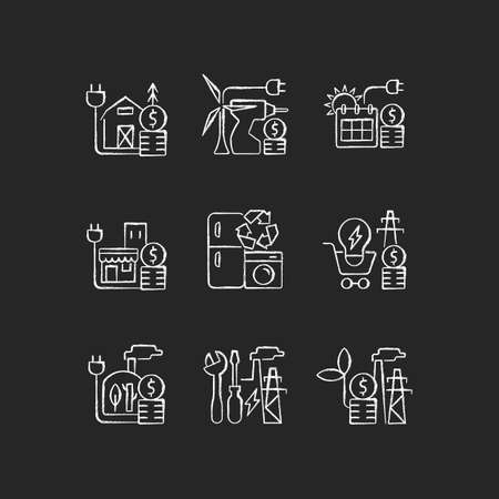 Electrical energy cost chalk white icons set on dark background. Appliance recycling program. Utility service. Electricity consumption. Isolated vector chalkboard illustrations on black