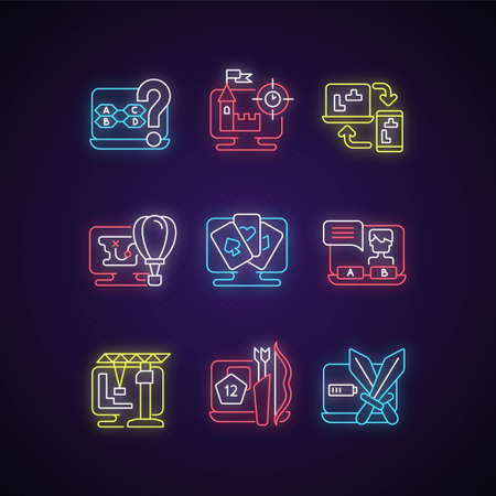 Game genres neon light icons set. Interesting adventure story to play with friends. Digital novel choices. Fun time spending. Signs with outer glowing effect. Vector isolated RGB color illustrations