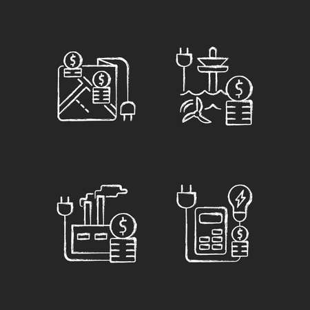 Electrical energy purchase expense chalk white icons set on dark background. Pricing by locality. Rebates for utility. Electricity consumption. Isolated vector chalkboard illustrations on black