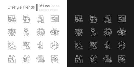 Lifestyle trends linear icons set for dark and light mode. Hygge atmosphere. Health tracking. Digital detox. Customizable thin line symbols. Isolated vector outline illustrations. Editable stroke Ilustrace