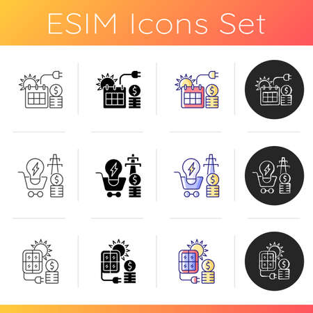 Energy prices icons set. Summer season electricity consumption. Utility service demand. Solar panels for sustainable production. Linear, black and RGB color styles. Isolated vector illustrations