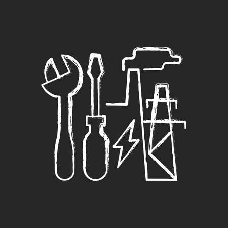 Energy system repairs chalk white icon on dark background. Electricity generation station. Industrial production of power supply. Energy purchase. Isolated vector chalkboard illustration on black