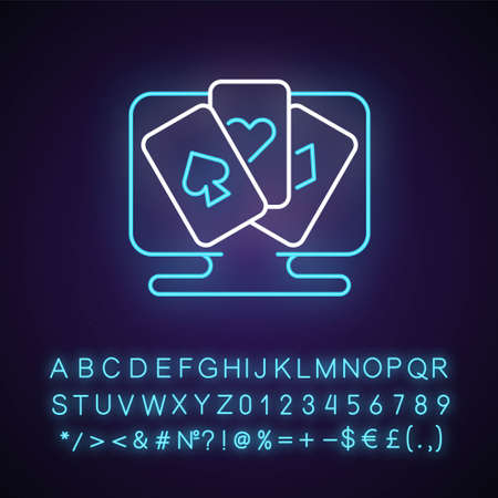 Card game neon light icon. Activity which uses playing cards for player interaction. Outer glowing effect. Sign with alphabet, numbers and symbols. Vector isolated RGB color illustration Ilustrace