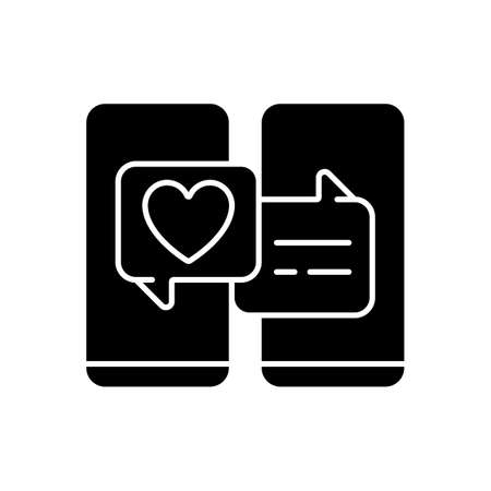 Online dating black glyph icon. Popular trend during pandemic. Matchmaking service. Internet interaction on romantic level. Silhouette symbol on white space. Vector isolated illustration