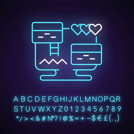 Platform video game neon light icon. Traditional two dimentional genre of digital activities. Outer glowing effect. Sign with alphabet, numbers and symbols. Vector isolated RGB color illustration