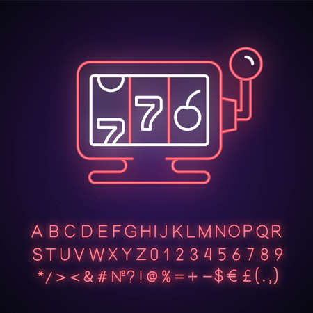 Online casino neon light icon. Website which allows gambling. Exciting entertainment types. Outer glowing effect. Sign with alphabet, numbers and symbols. Vector isolated RGB color illustration Ilustrace