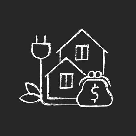 Green pricing program chalk white icon on dark background. Utility service cost for buildings. Paying for electrical power. Price for energy purchase. Isolated vector chalkboard illustration on black Ilustrace