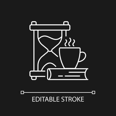 Slow living white linear icon for dark theme. Calm approach to life. Being mindful about body needs. Thin line customizable illustration. Isolated vector contour symbol for night mode. Editable stroke Ilustrace