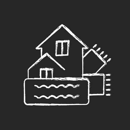 Weatherization chalk white icon on dark background. Weatherproofing building. Insulation for home. House heat and climate control. Energy purchase. Isolated vector chalkboard illustration on black