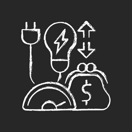 Energy efficiency program chalk white icon on dark background. Policy for purchasing electrical power. Resource consumption cost. Energy purchase. Isolated vector chalkboard illustration on black