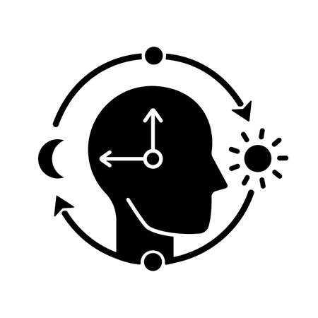 Circadian rhythms black glyph icon. Internal daily clock. Optimize cognitive function for daytime. Sleep wake cycle regulation. Silhouette symbol on white space. Vector isolated illustration
