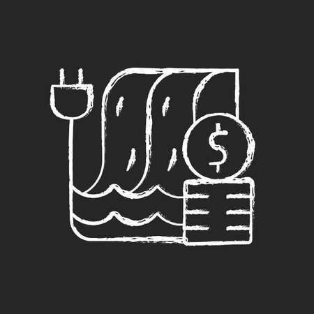 Hydropower pricing chalk white icon on dark background. Water dam for sustainable production of electricity. Financial cost of utility service. Isolated vector chalkboard illustration on black Ilustrace