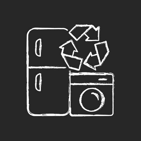 Appliance recycling program chalk white icon on dark background. Household electrical waste collection for reuse. Industrial garbage. Energy purchase. Isolated vector chalkboard illustration on black