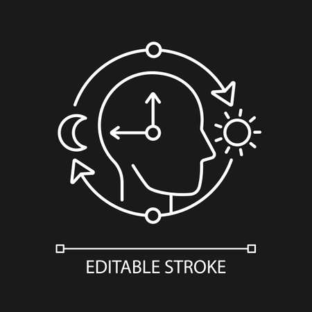 Circadian rhythms white linear icon for dark theme. Optimize cognitive function for daytime. Thin line customizable illustration. Isolated vector contour symbol for night mode. Editable stroke