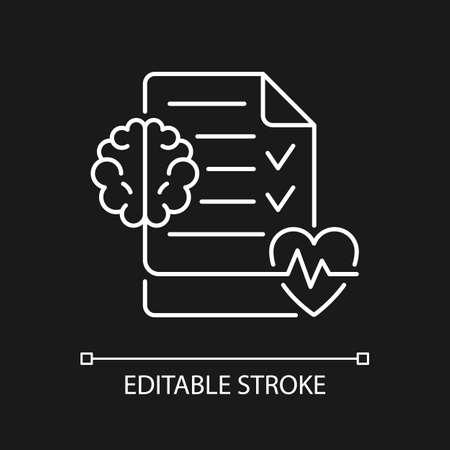 Mental health awareness white linear icon for dark theme. Defeating illness stigma. Thin line customizable illustration. Isolated vector contour symbol for night mode. Editable stroke